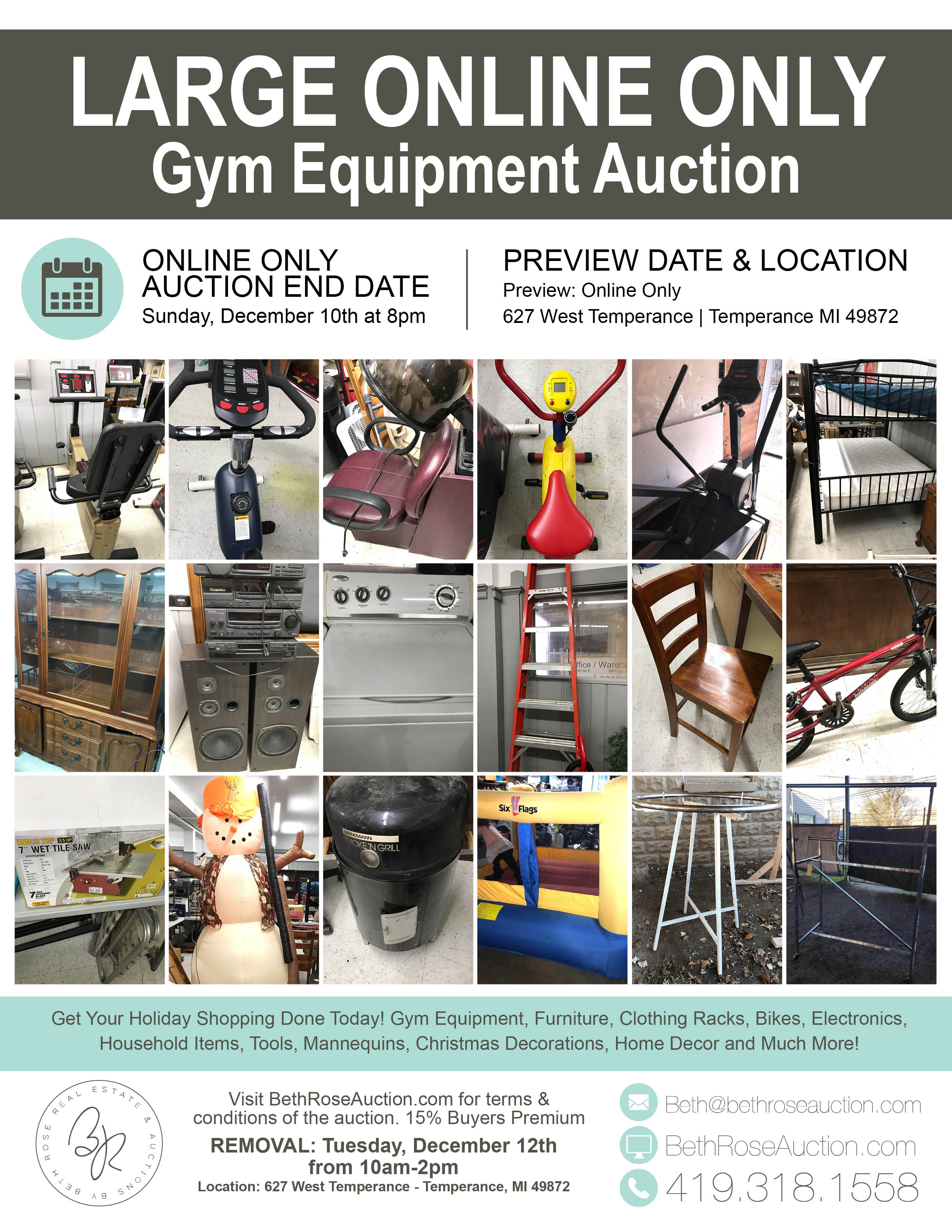 Sale end online only content gym equipment auction beth rose